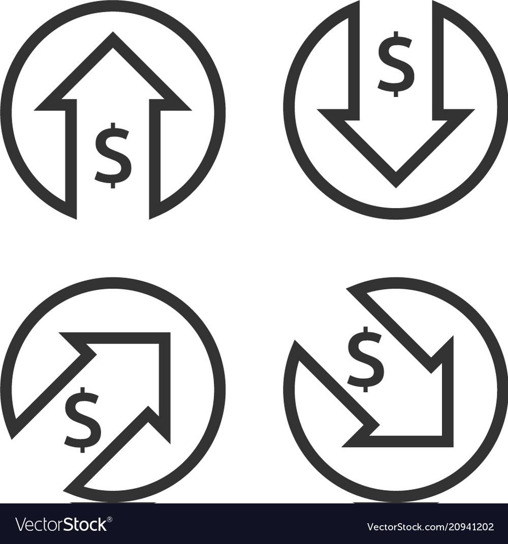 Dollar Increase Decrease Icon Money Symbol With Vector Image