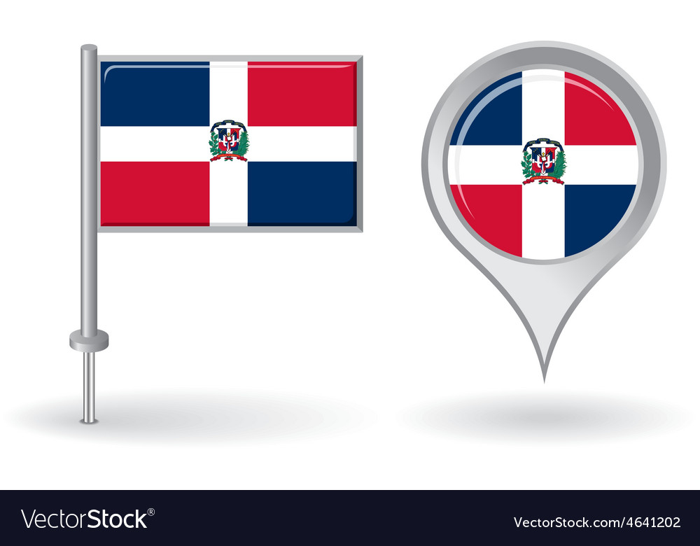 Dominican Republic pin icon and map pointer flag Vector Image on
