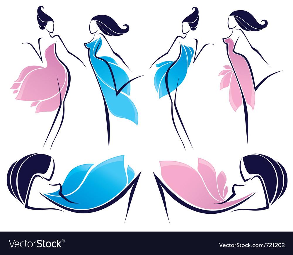 Floral girls vector image