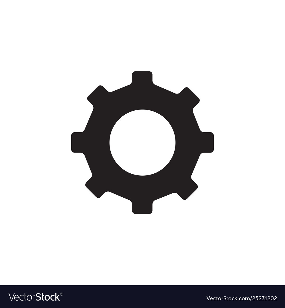 Gear icon in flat style for app ui websites black