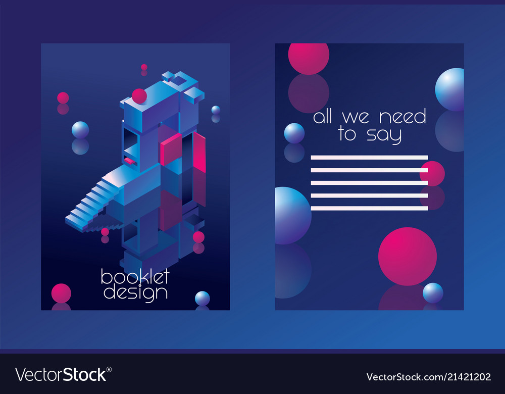 Isometric booklet concept with 3d letter a vivid