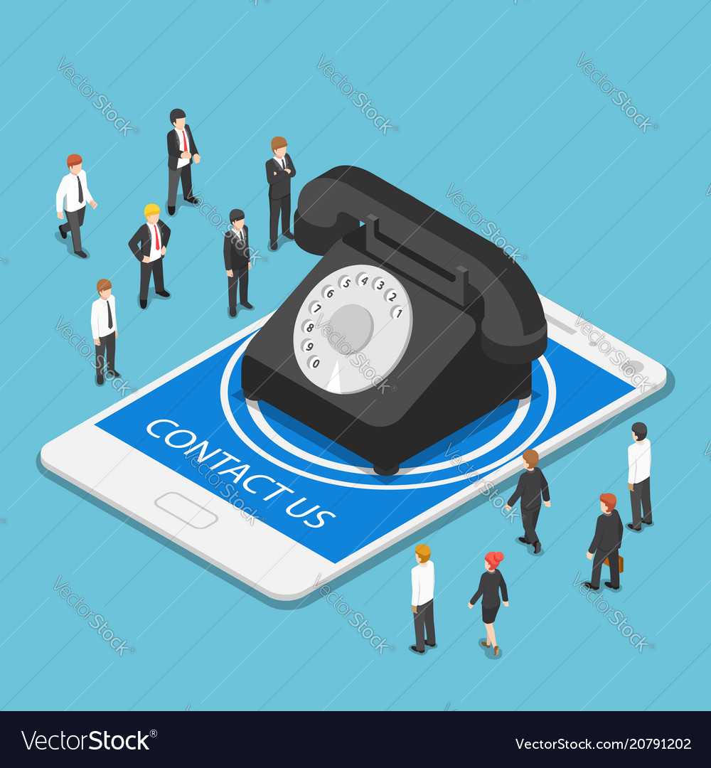 Isometric classic telephone on tablet pc with