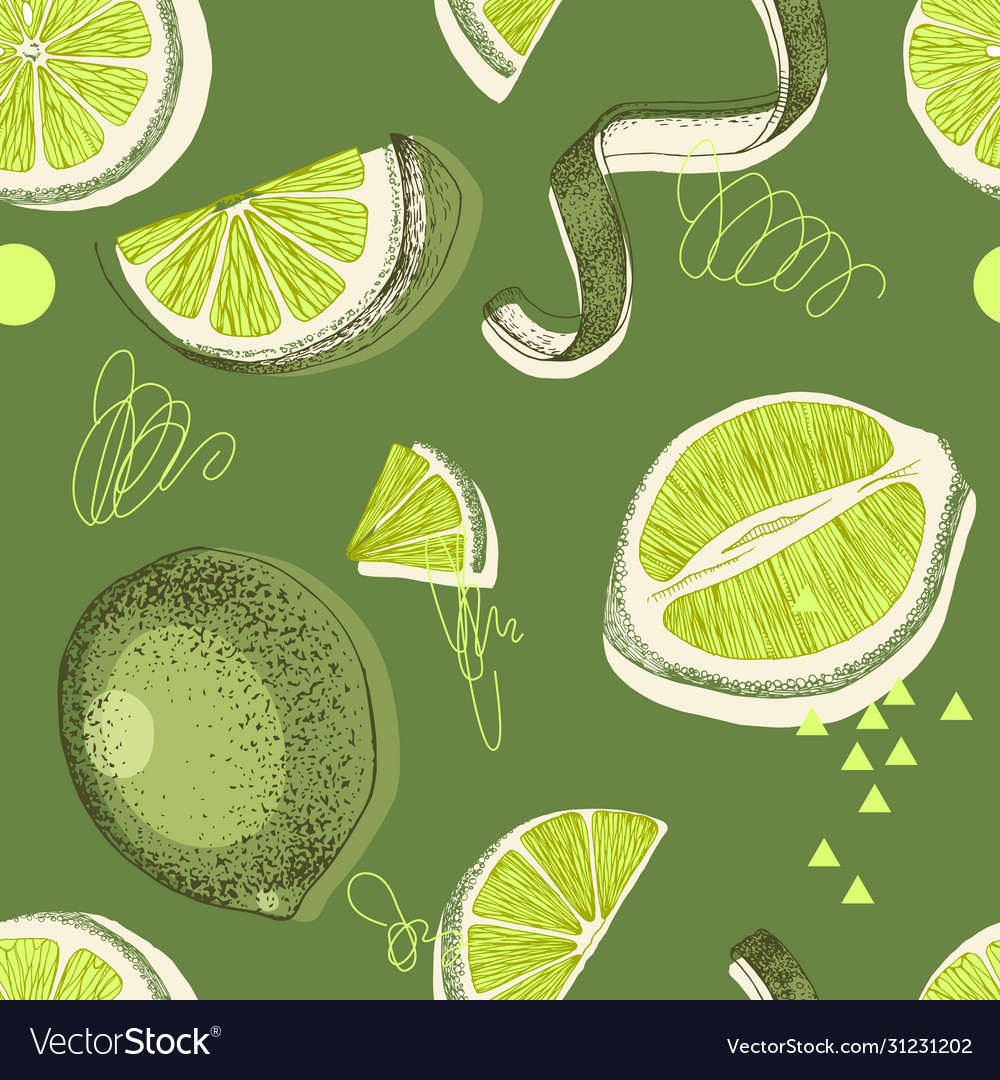 Seamless pattern with hand drawn lime halfs skin