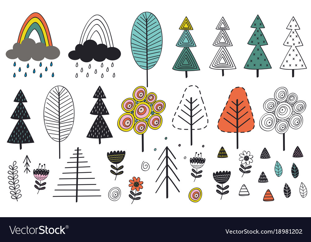 Set of isolated tree and elements in scandinavian