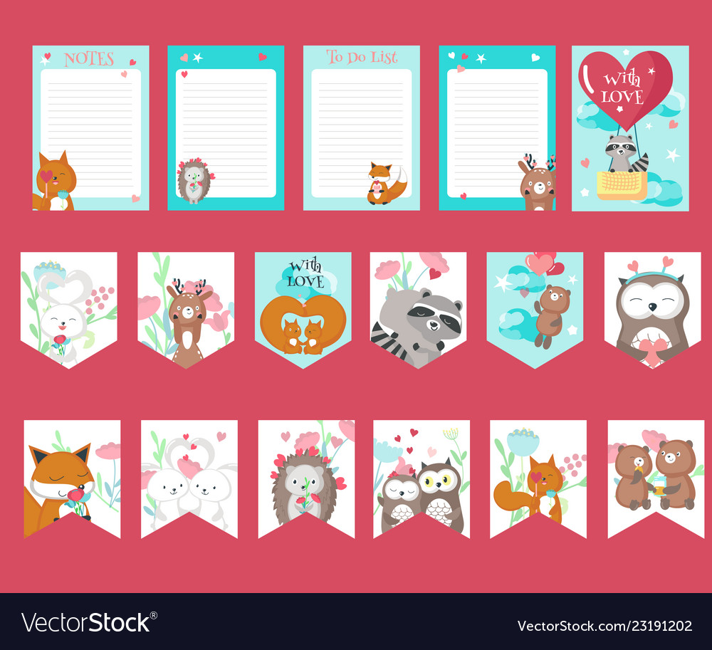 Set of love cards with cute animals