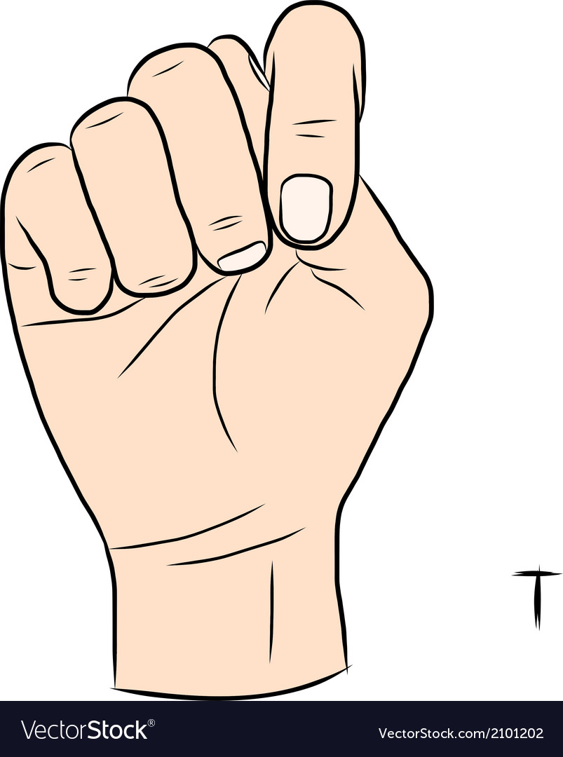 Sign Language And The AlphabetThe Letter T Vector Image