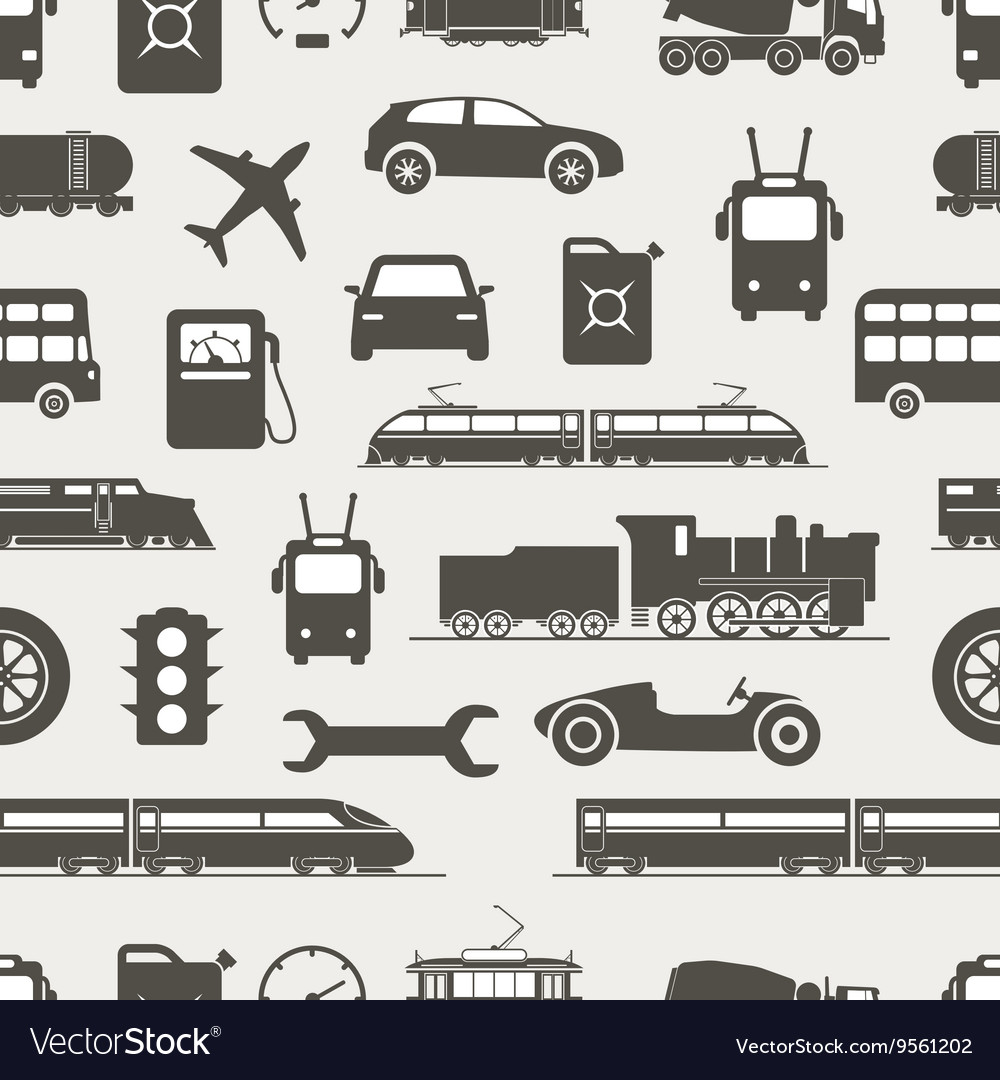 Vintage and modern vehicle silhouettes seamless