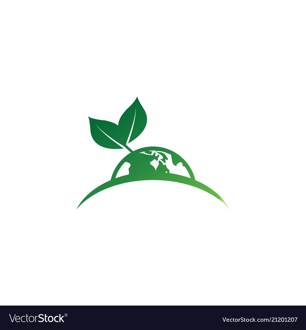 Earth leaf logo design template