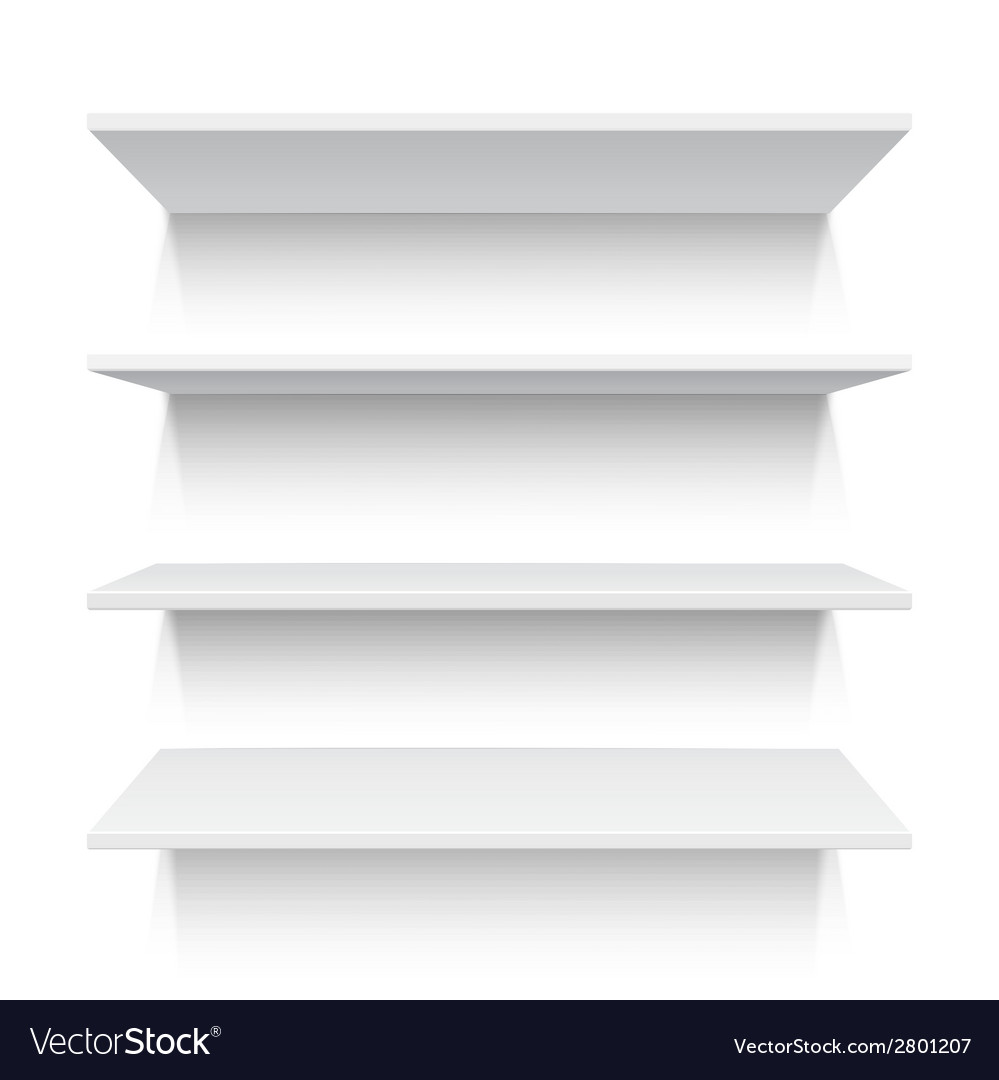 Four white realistic shelves