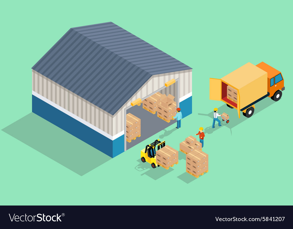 Isometric warehouse Loading and unloading from