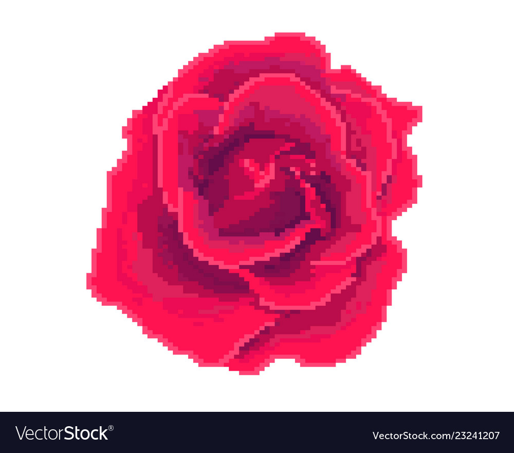 Rose Icon Pixel Art Logo Of The Flower Shop Vector Image