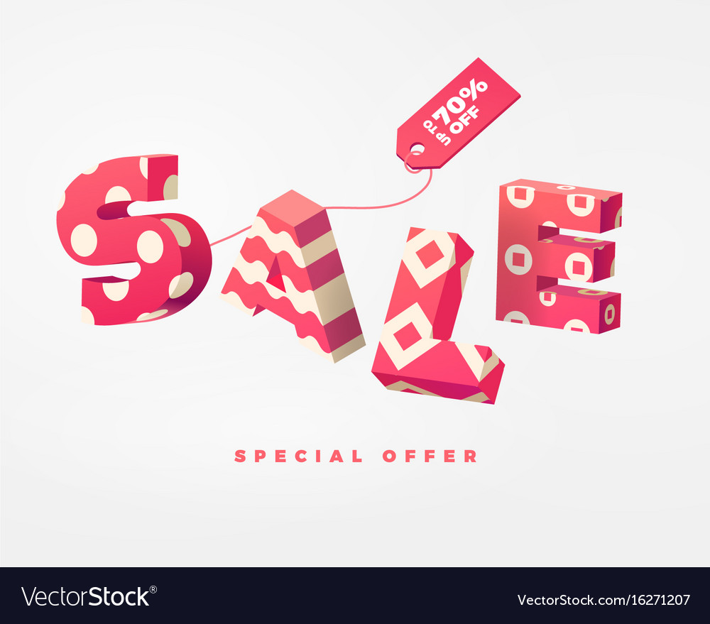 Sale 3d sign pink on white