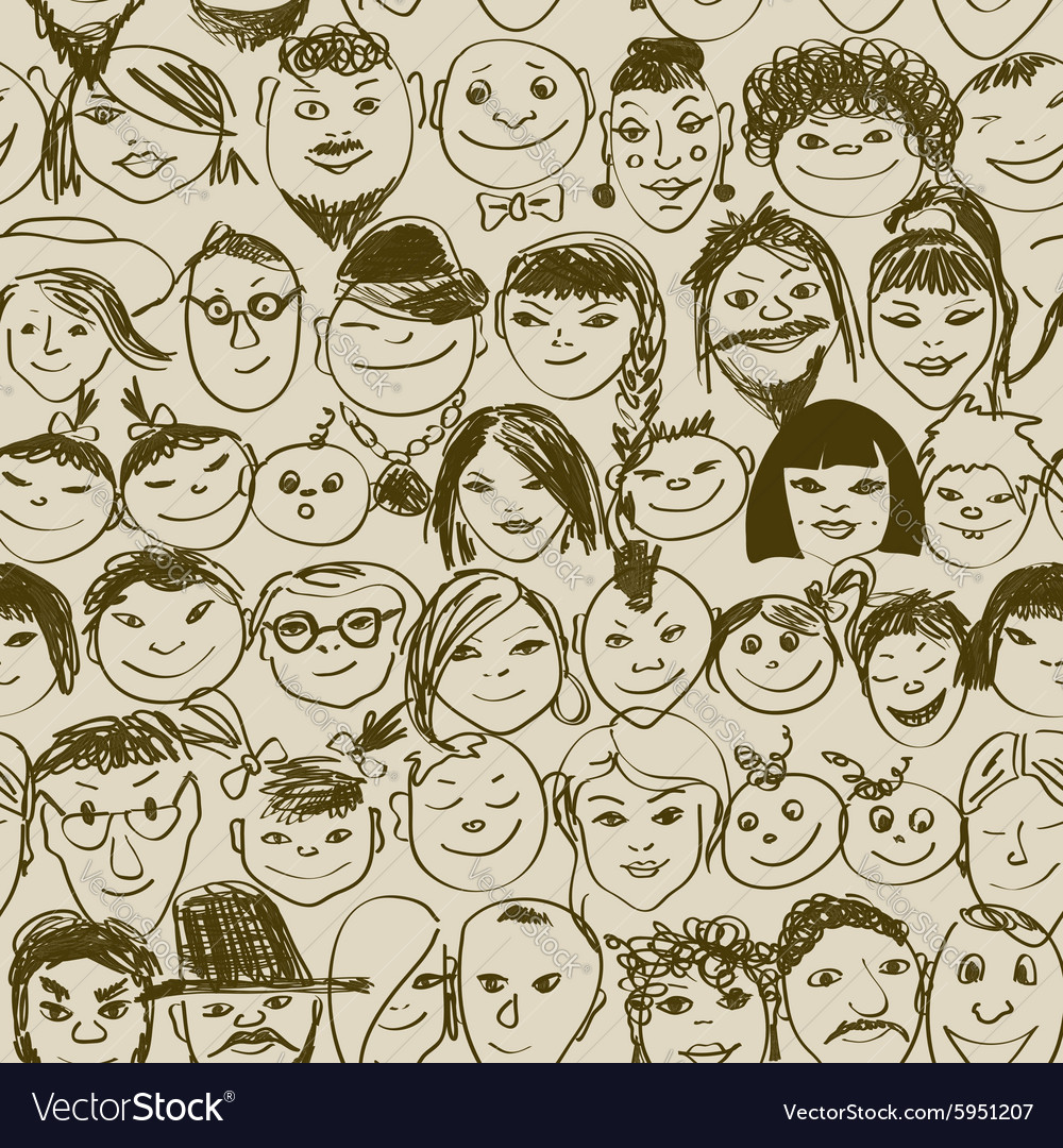 Seamless pattern of smiling crowd people