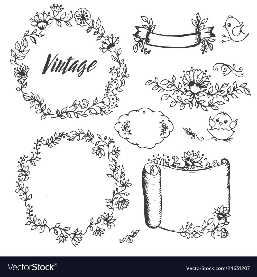 Vintage drawings of flowers labels by hand