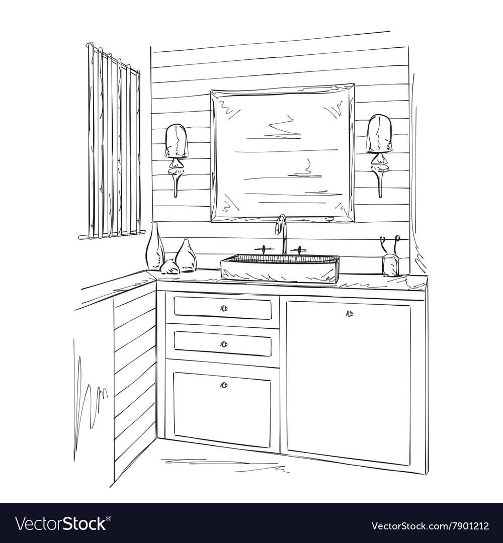 Bathroom interior elements sketch