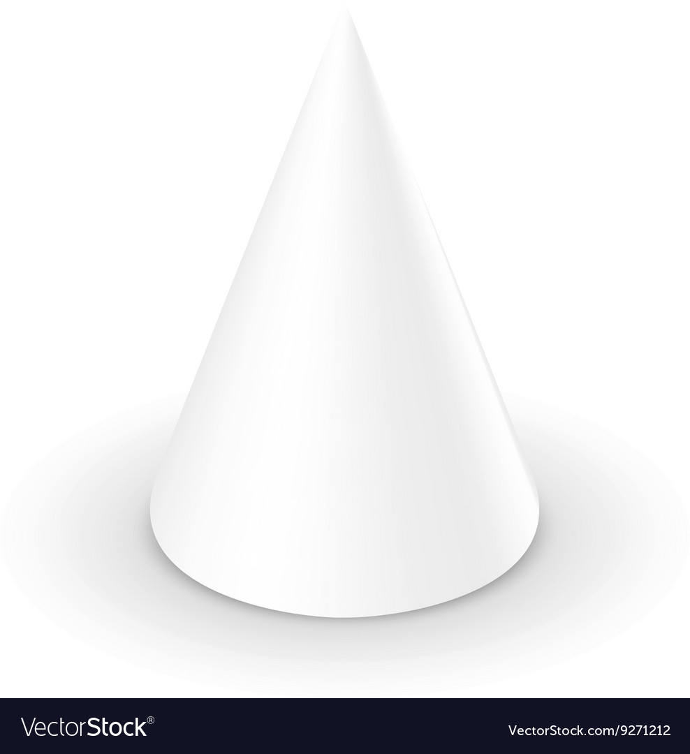 Blank White Cone 3d Template Vector Image
