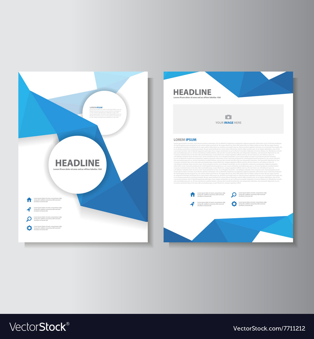 Blue Annual Report Brochure Design Vector Template For
