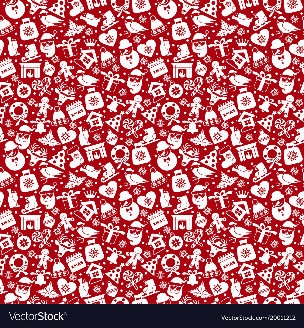 Christmas seamless pattern of icons of flat style