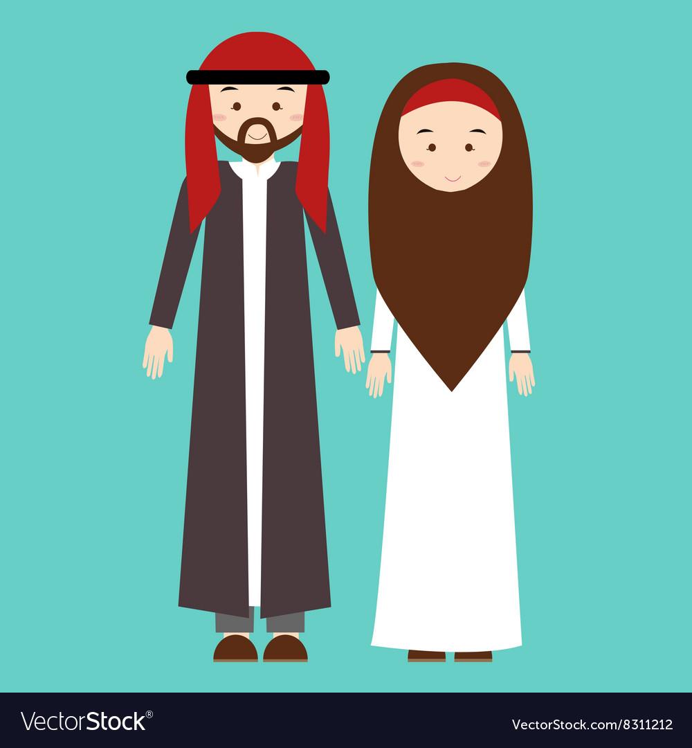 Couple man woman wearing arab arabic traditional