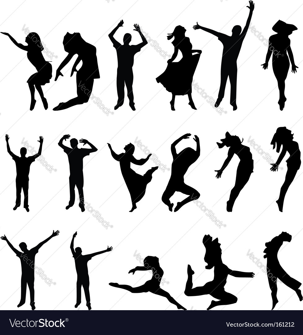 Dance many people silhouette illustration