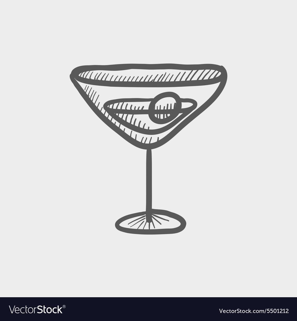 Glass of martini sketch icon