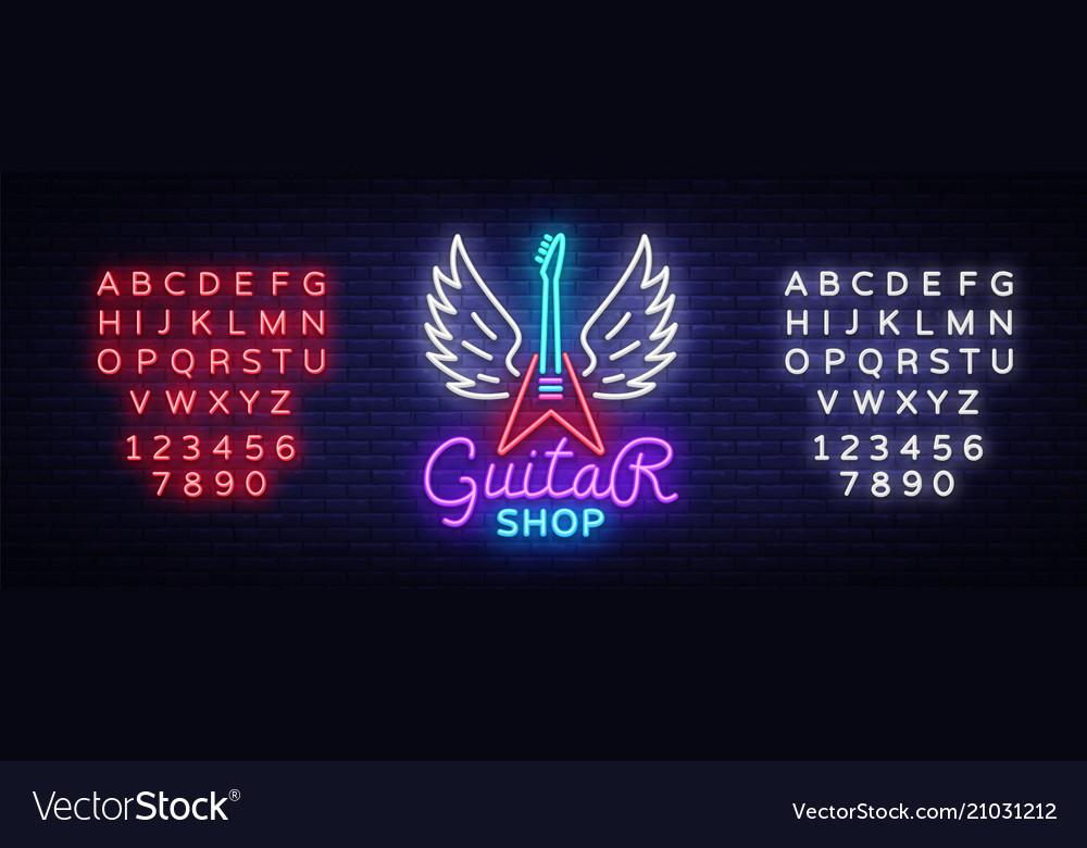 Guitar shop neon sign design template