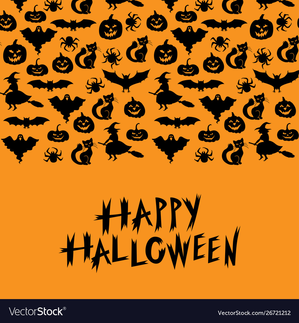 Halloween symbols horizontal ornament greeting vector