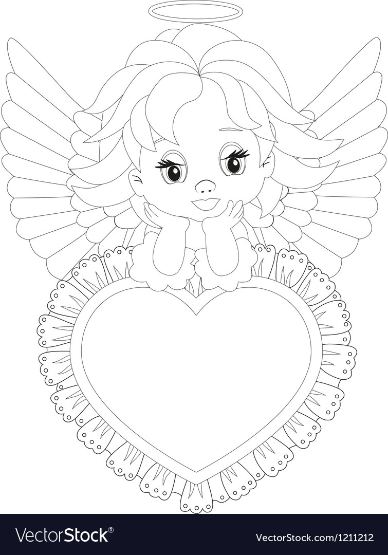 Little Angel Coloring Page Royalty Free Vector Image