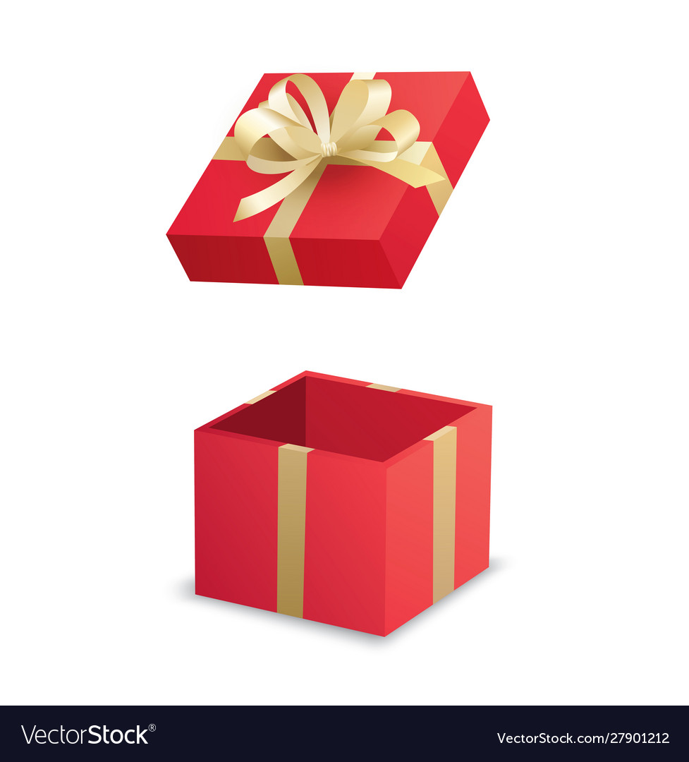 Open red gift box and gold ribbon isolated on