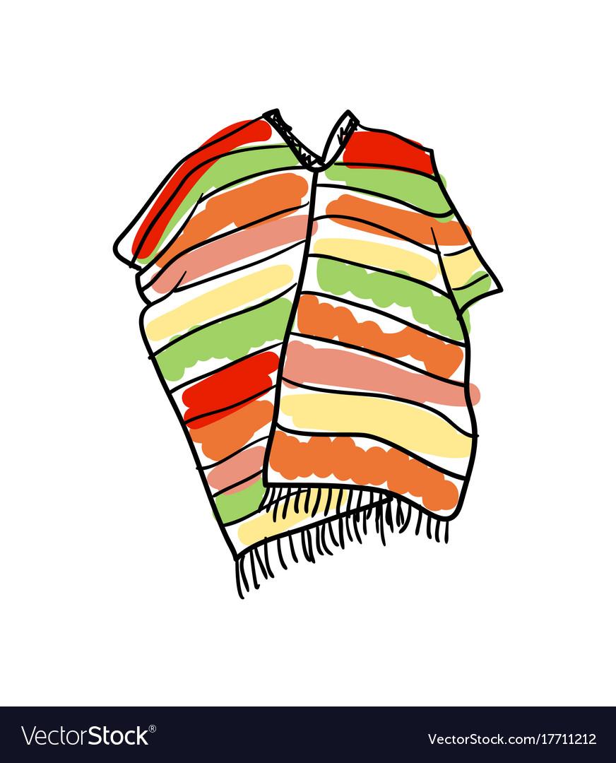 Poncho clothing hand drawn icon vector image