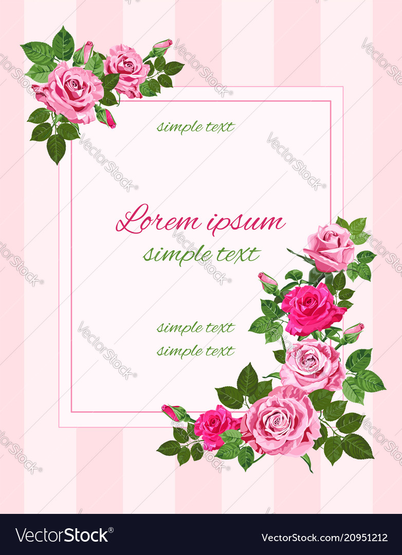 Retro greeting with pink roses