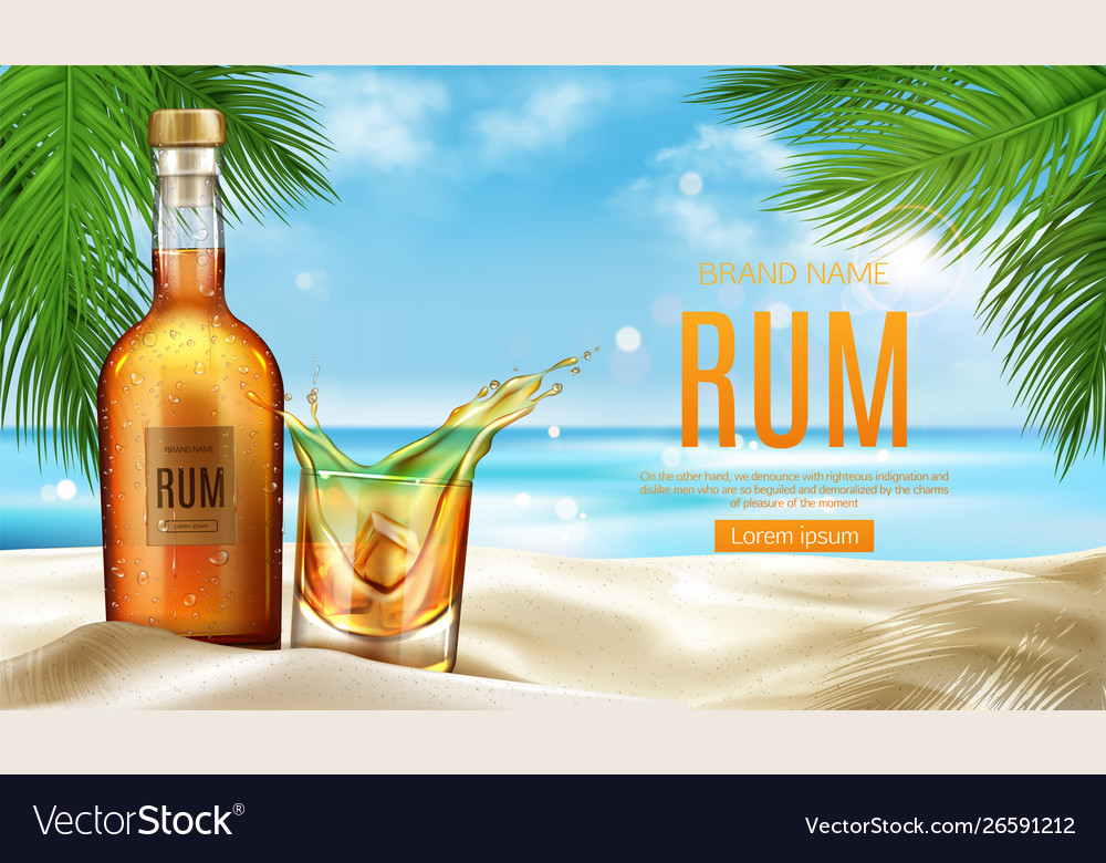Rum bottle and glass with ice stand on sandy beach