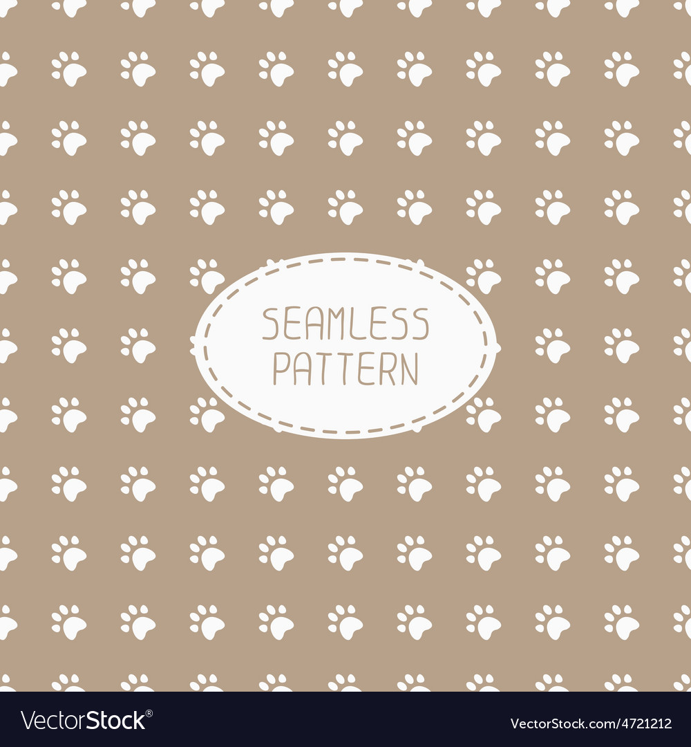 Seamless pattern with animal footprints cat dog
