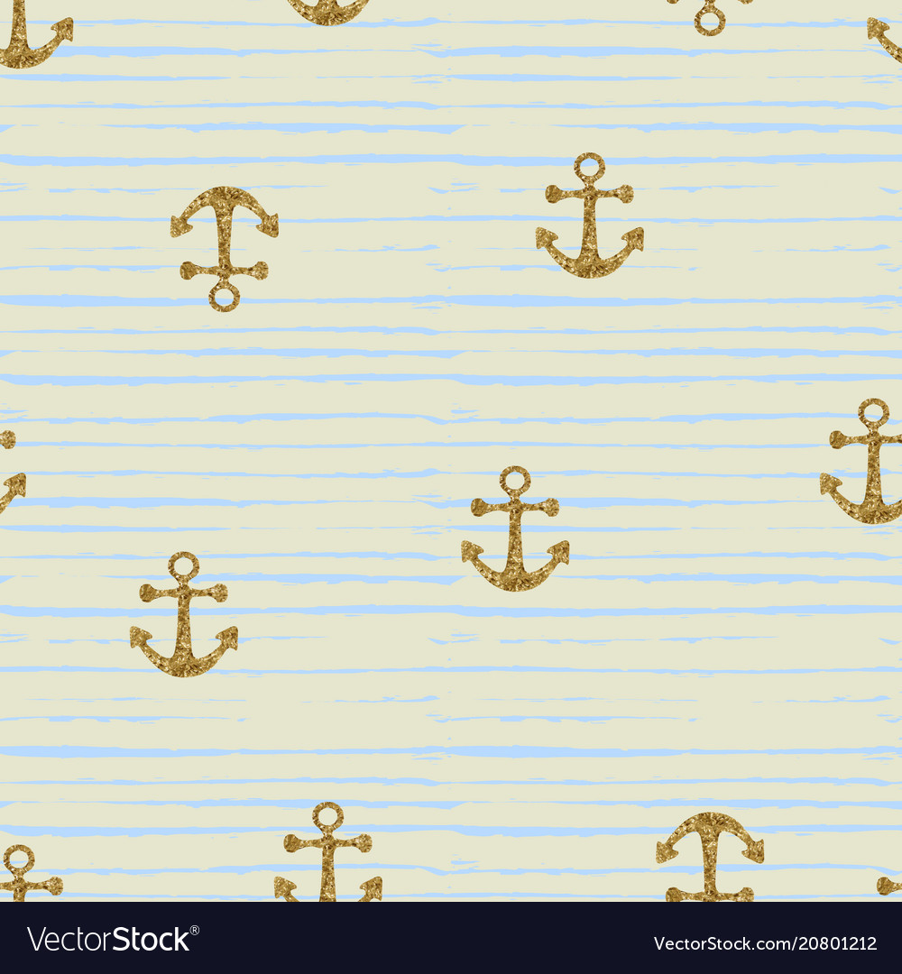 Seamless pattern with gold anchors
