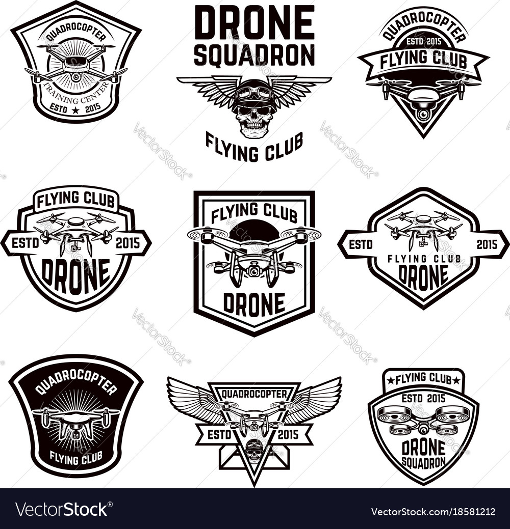 Set of emblems with drone