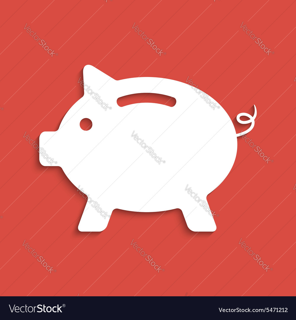 White piggy bank icon on dark red background vector image