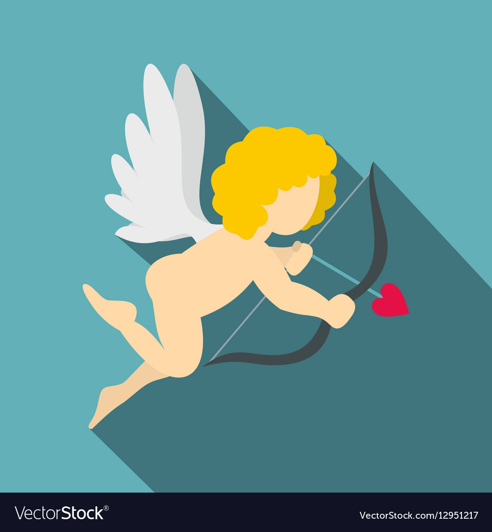 Amur or Cupid icon flat style