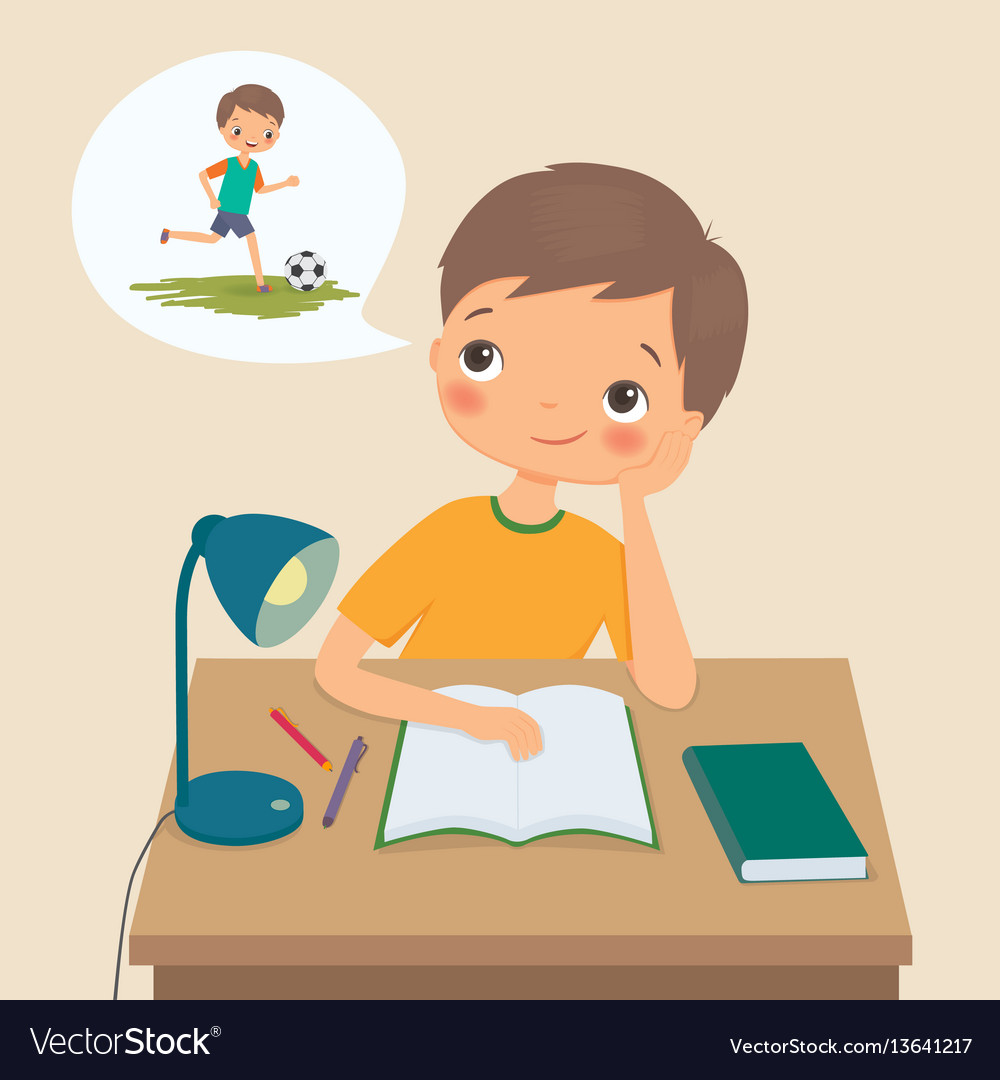Boy makes homework and dreams about football