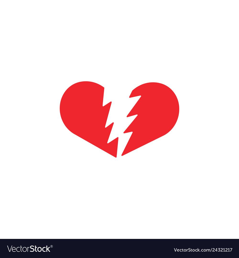 Broken heart icon design template isolated