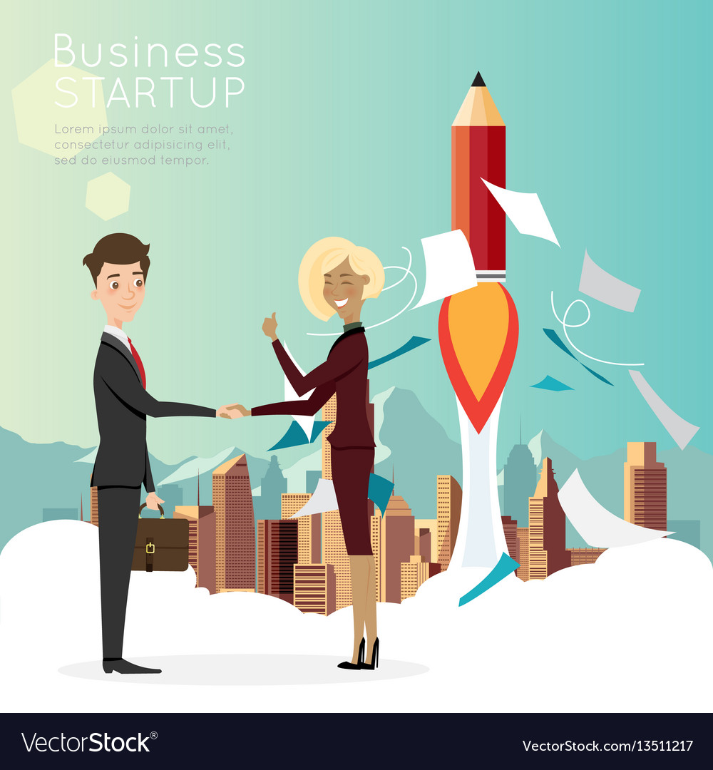 Businessman handshake with city background for