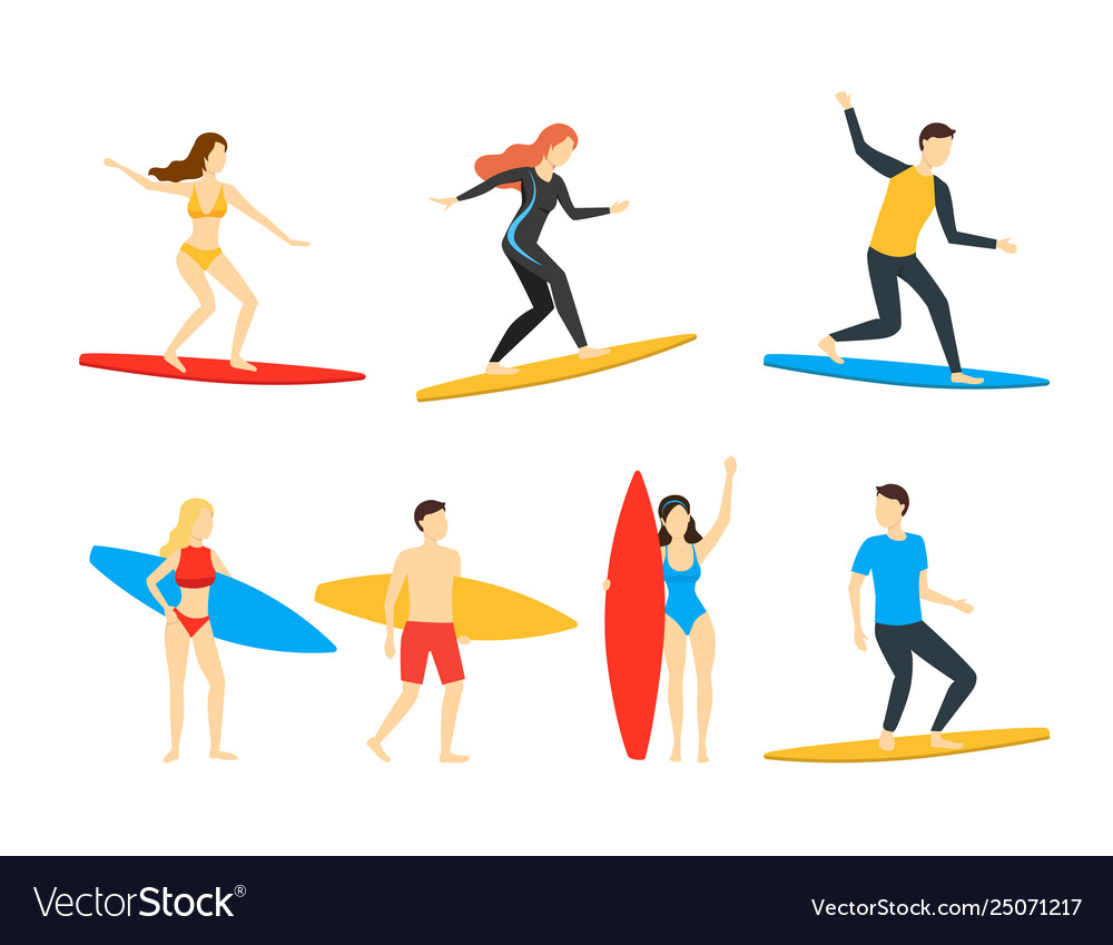 Cartoon different characters people surfers set