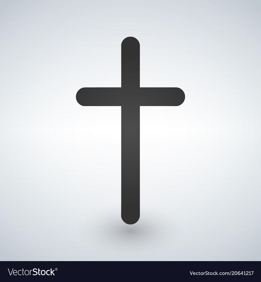 Christian cross icon minimalistic black christian vector image