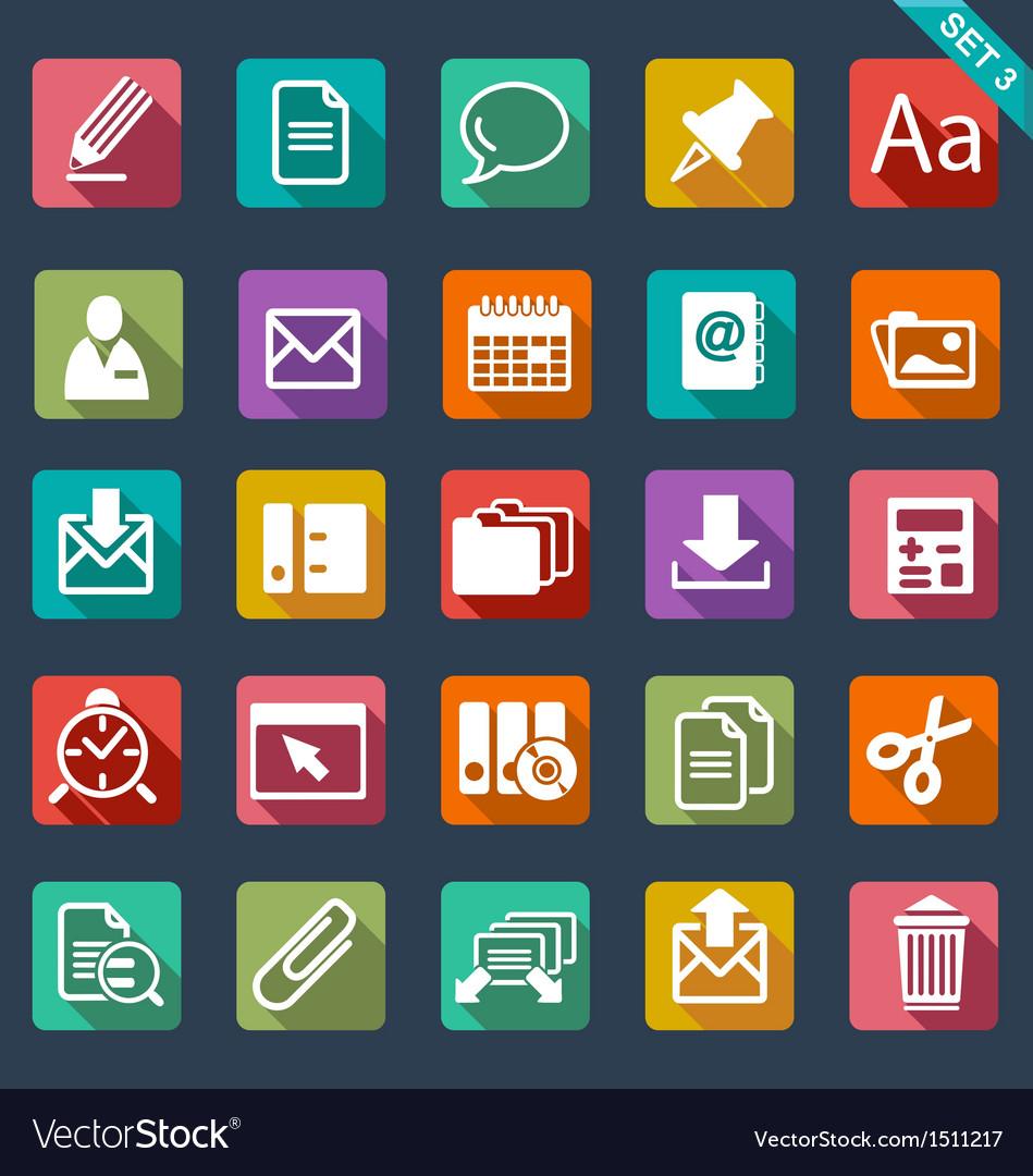 flat icon set royalty free vector image vectorstock