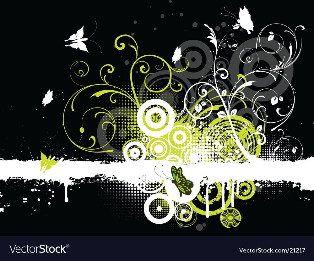 Floral grunge butterflies