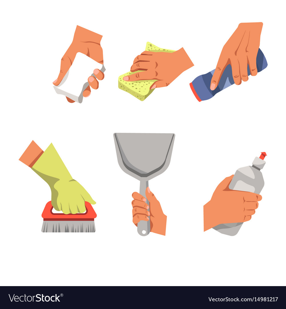 Hands with cleaning equipment