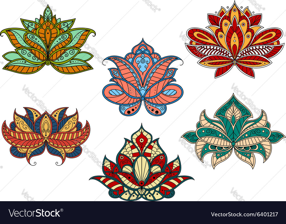 Paisley flowers with indian ethnic ornaments vector image