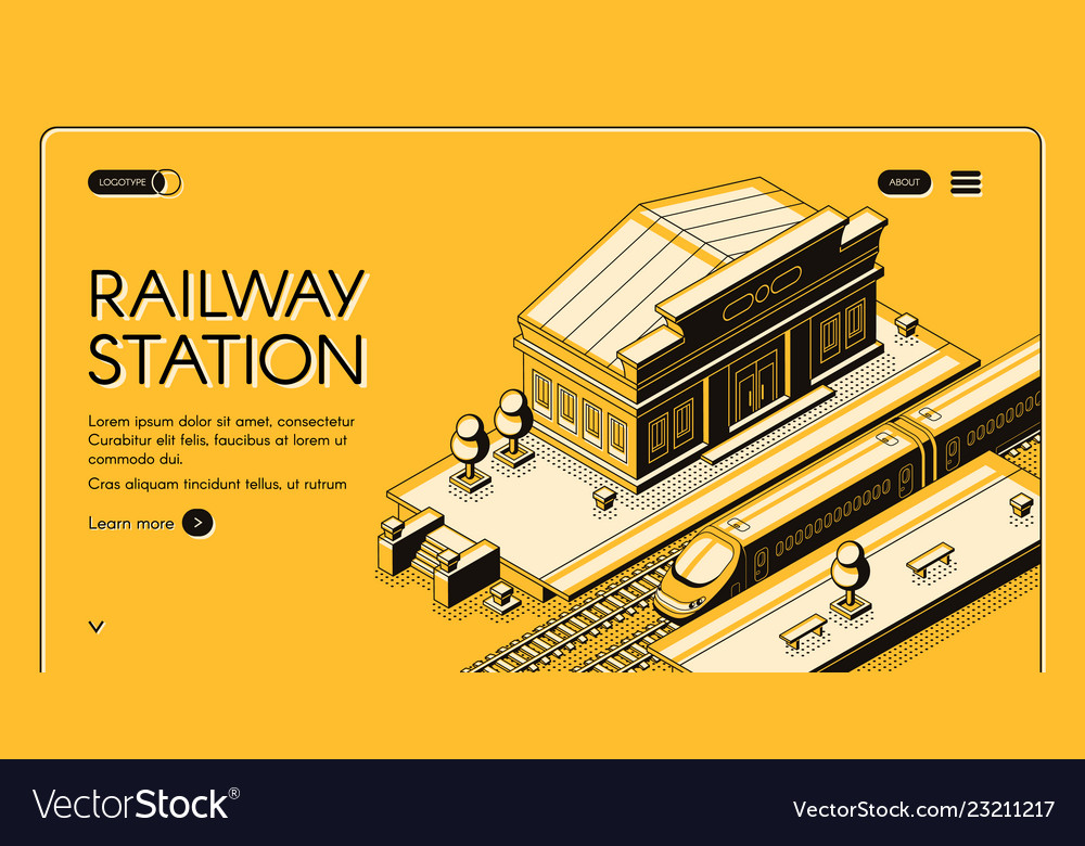 Railway station isometric landing page