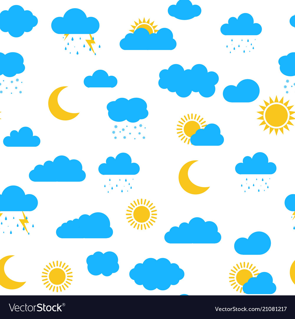Seamless pattern with clouds sun moon snow rai