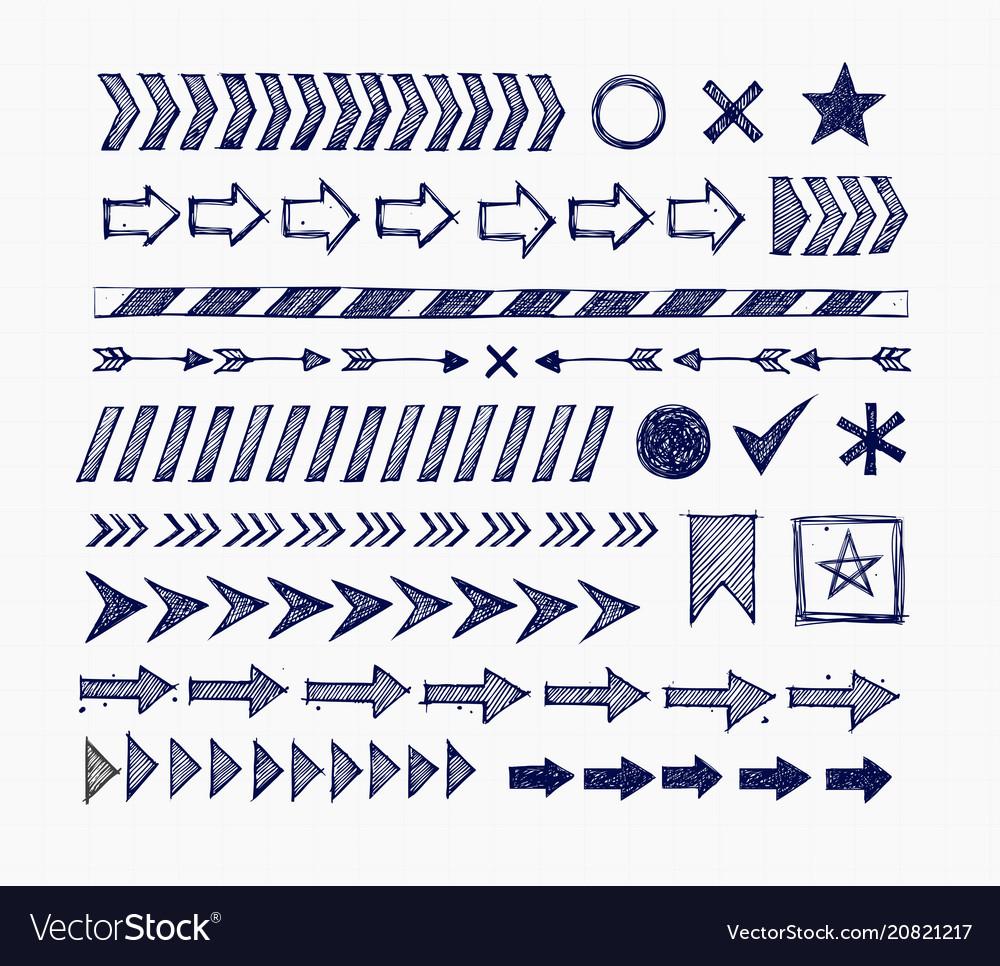 Set blue doodle arrow dividers pointers