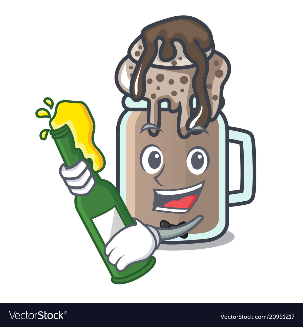 With beer milkshake mascot cartoon style